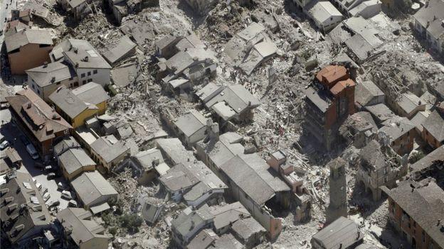 Vista aérea de Amatrice.