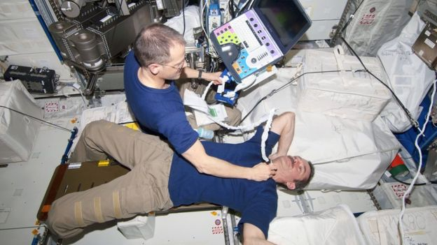An ISS astronaut performing an ultrasound scan on Canadian astronaut Chris Hadfield on a previous mission