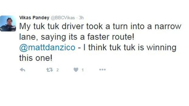 Text reads: My tuk tuk driver took a turn into a narrow lane, saying its a faster route! @mattdanzico - I think tuk tuk is winning this one!