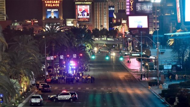 Las Vegas police investigate following a traffic accident near the hotel and casino where the Miss Universe pageant was being held in Las Vegas