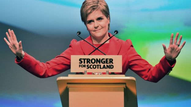 Nicola Sturgeon, leader of the Scottish National Party