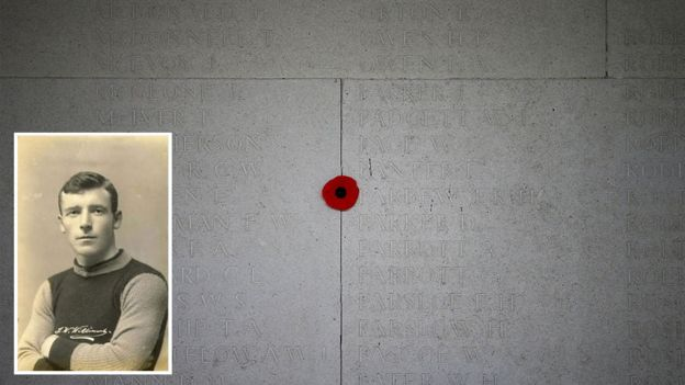 The Arras memorial with John Williams (inset)