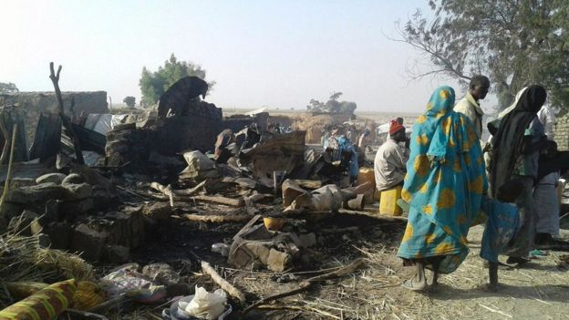 Damage in the camp in Rann, Nigeria, 17 January