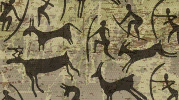 avlanan ilk insanların duvar resmi