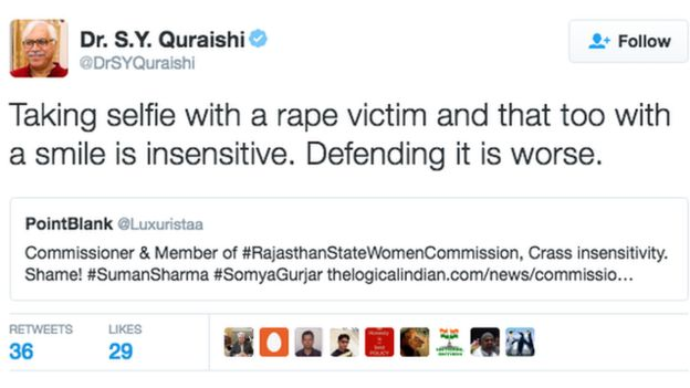 Tweet: Taking selfie with a rape victim and that too with a smile is insensitive. Defending it is worse.
