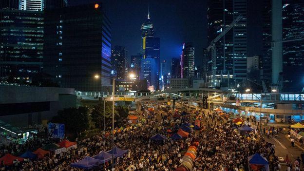 「雨傘運動」時期,金鐘街頭被佔領