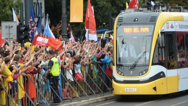 Pope Francis rides a tram in Krakow, Poland