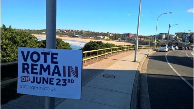 A campaign poster hangs on a pole in the beachside Sydney suburb of Maroubra, where many British expats live