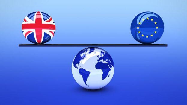 Качели с шарами ЕС и Британии