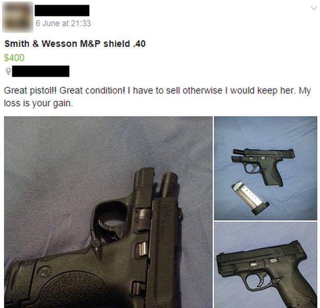 Pistolas a la venta en Facebook