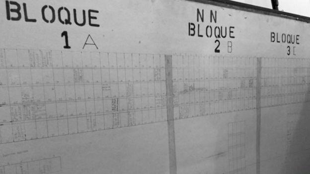 Panel con los datos de NN en las bóvedas del cementerio.