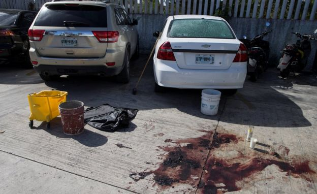 Escena de un crimen en Cancún