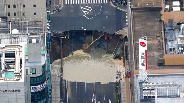 Vista aérea del socavón