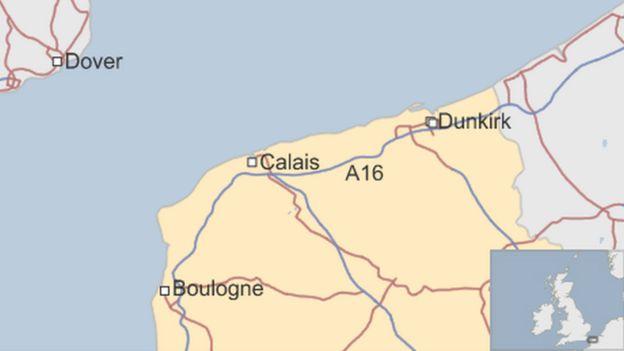 Mapa que muestra a Calais y a Dover.