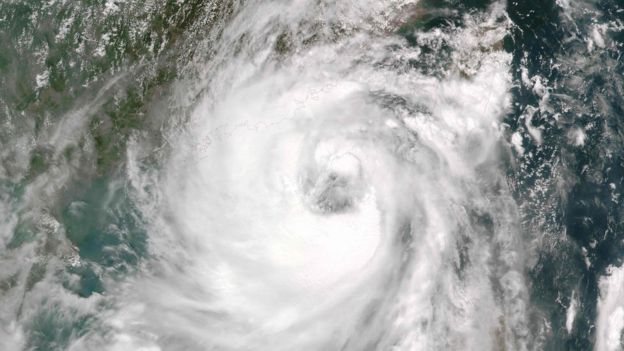 Nasa satellite image shows Typhoon Nida approaching China, 1 August