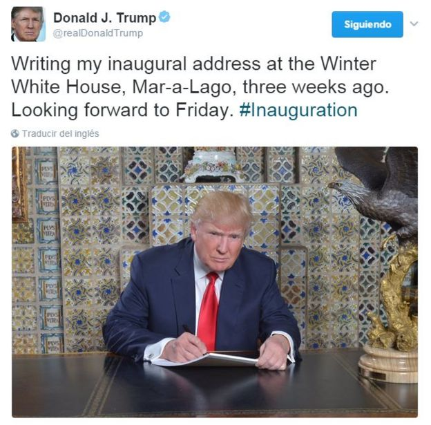 Presidente Donald Trump en un tuit