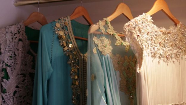 Kaftans in Ilham Benami's shop