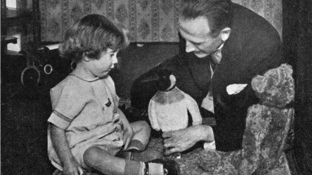 Penguin and Winnie-the-Pooh in Christopher (Robin) Milne's nursery with A.A. Milne