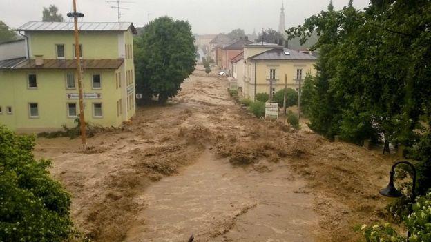 Flood waters gushing through Triftern, Germany, 1 June 2016