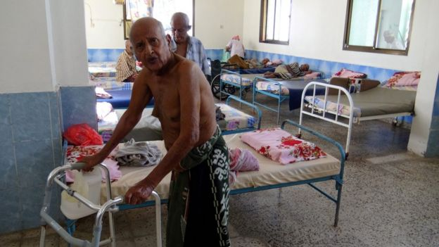 Elderly survivors of an attack are seen in the care home after it was targeted by unidentified gunmen in the southern port city of Aden, Yemen, 04 March 2016.