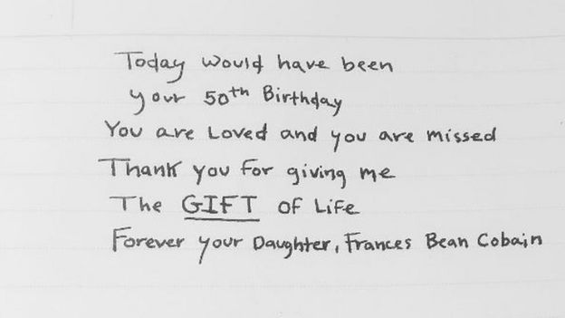 Frances Bean Cobain tweets a happy birthday message to Kurt