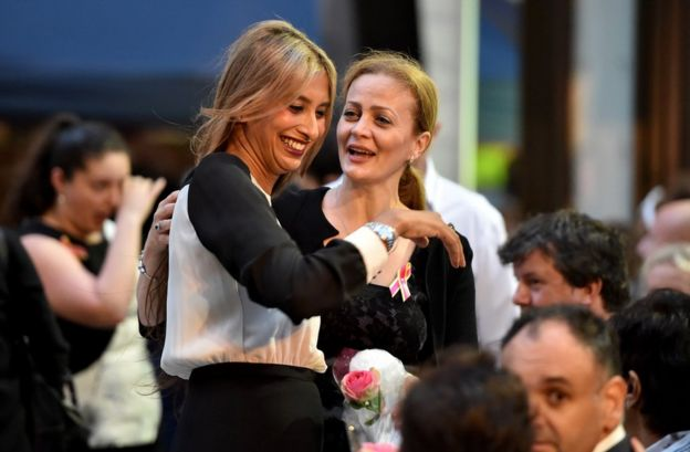 Sydney siege survivors Selina Win Pe (L) and Marcia Mikhael (R)