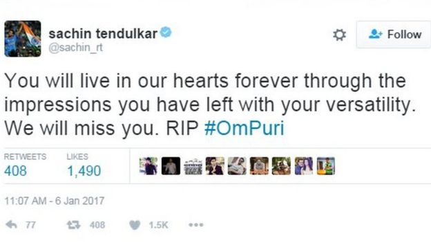 You will live in our hearts forever through the impressions you have left with your versatility. We will miss you. RIP #OmPuri
