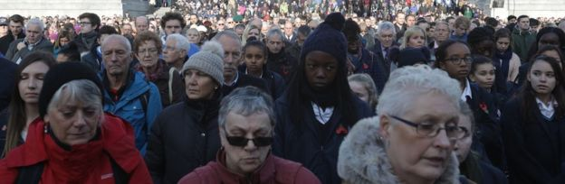 Crowds fall silent at the Silence in the Square event in Trafalgar Square