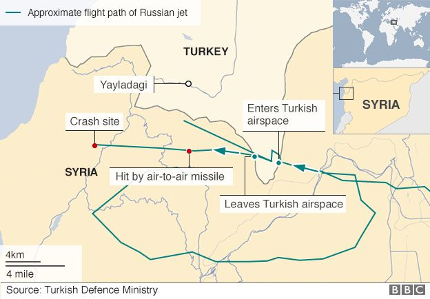 Map based on radar image published by Turkish armed forces purportedly showing track Russian Su-24 crossed into Turkish airspace before being shot down on 24 November 2015