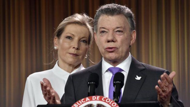 Presidente de Colombia Juan Manuel Santos con su esposa María Clemencia Rodríguez.