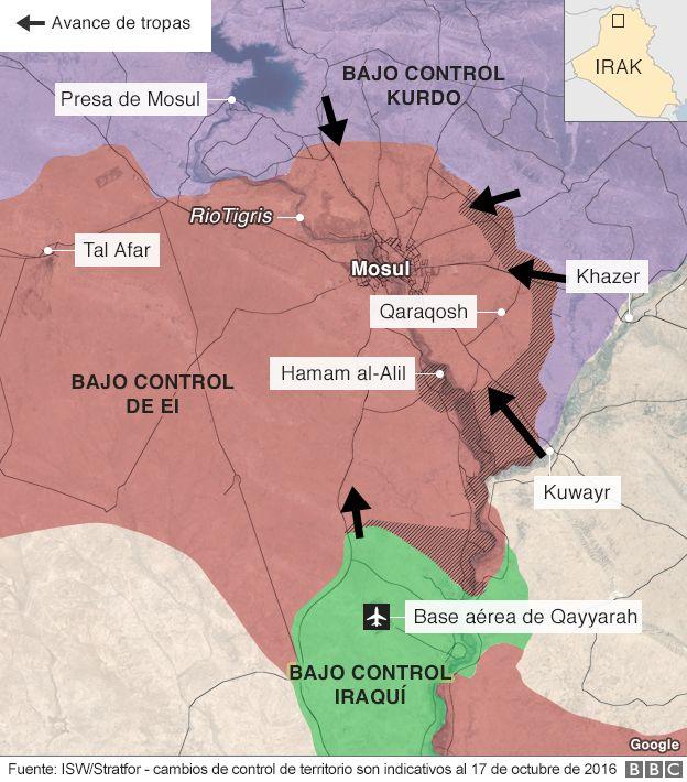 Mapa de Mosul
