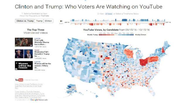 Mapa que muestra los videos más vistos en Youtube durante la campaña.