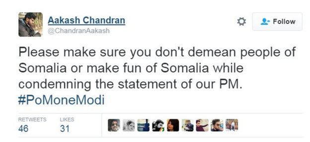 Please make sure you don't demean people of Somalia or make fun of Somalia while condemning the statement of our PM. #PoMoneModi