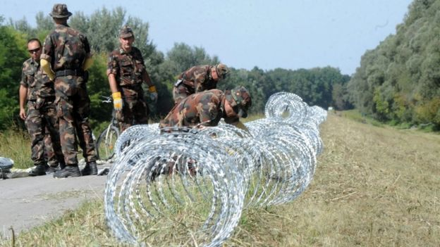 Hungarian police begin building a razor fence on the Croatia border