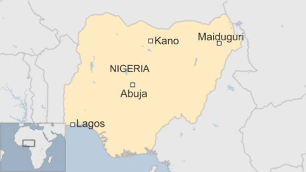 Map of Nigeria showing Kano and Maiduguri in north-east