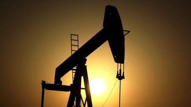 Un taladro de extracción de petróleo