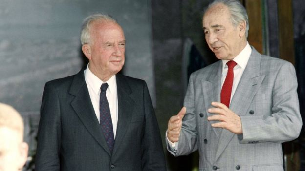 Shimon Peres y Yitzhak Rabin.