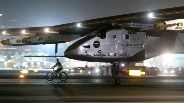 Solar Impulse touches down at Al Bateen Executive Airport