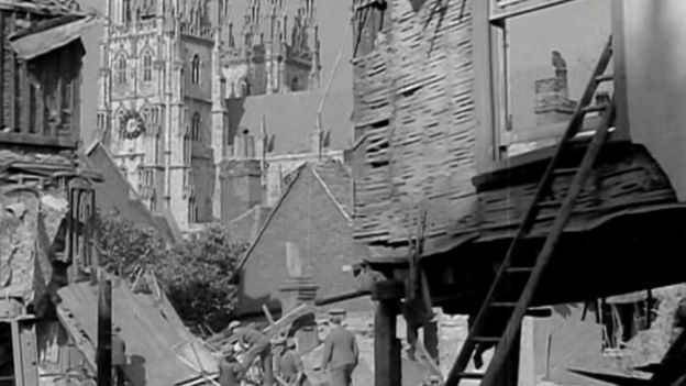 The bomb destruction in Canterbury
