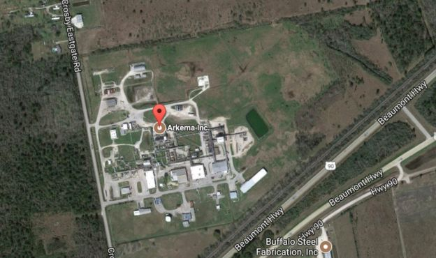 map showing the location of the Arkema plant