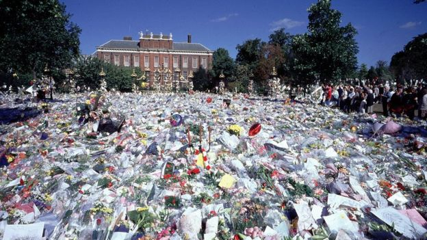 戴安娜王妃逝世後堆滿致哀花束的肯辛頓宮前地(9/1997)