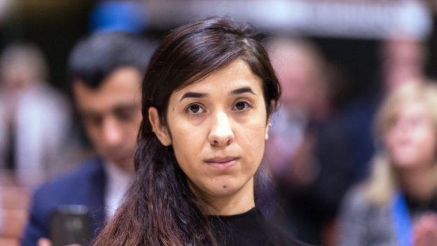 Nadia Murad Basee no Conselho Europeu em Estrasburgo