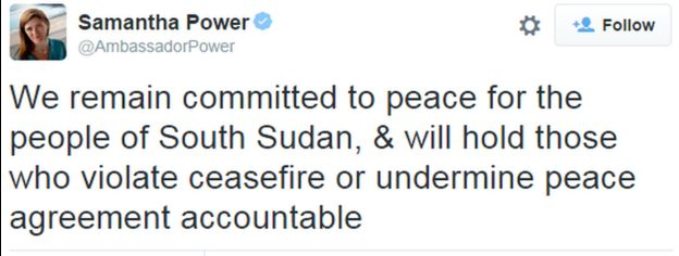 A tweet from Samantha Power, United States Ambassador to the United Nations, reads: