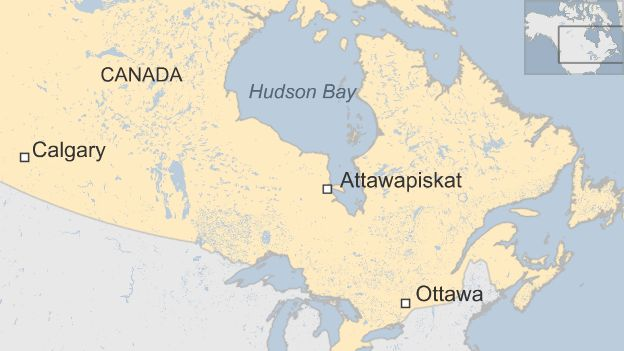 Map showing location of Attawapiskat