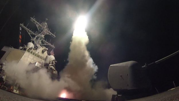 Guided-missile destroyer USS Porter fires a Tomahawk land attack missile on April 7, 2017 in the Mediterranean Sea