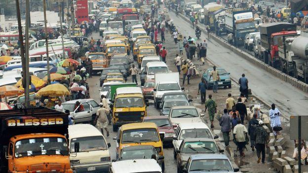 A traffic jam in Lagos, Nigeria