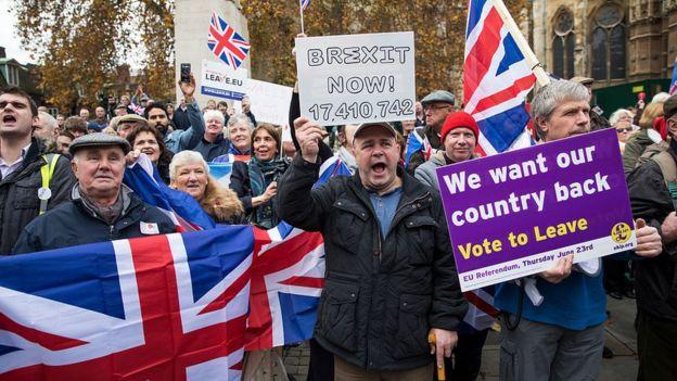 Personas a favor del Brexit.