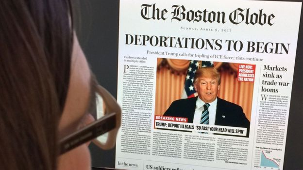 Portada falsa de The Boston Globe