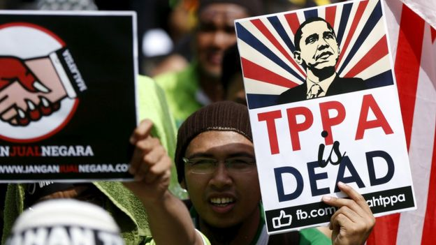 Manifestación contra el TPP en Kuala Lumpur.