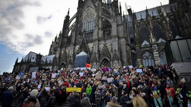 Protesters outside Cologne cathedral (9 January)